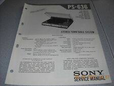 Sony ps-636 Stereo Turntable System preliminary Service Manual incl. info Service