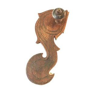 """ANTIQUE ASIAN THAI? WOOD CARVED SHOE WALL HOOK DECOR IMBEDDED WIRE DESIGN 9.5"""" L"""