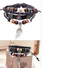 Men Women's Handmade Unisex Wing Feather Leather Adjust Bracelet Jewellery UK