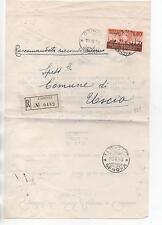ITALIA 1956 ISOLATO SU RACCOMANDATA DA CAMOGLI PER USCIO