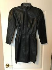MICHAEL HOBAN North Beach Black Leather Dress XS Lined Double Zip Vintage 80's