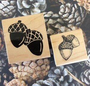 Acorns Wood Mount Rubber Stamps Autumn Fall Rustic Country Farmhouse Decor 2 PC