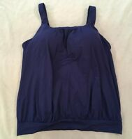 Lands End 18 Swimsuit Tankini Top Blouson Navy Blue Solid Womens Swim