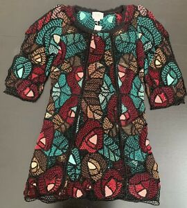 Lim's Vintage All Hand Crochet 3/4 Sleeve Knee Length Dress, Multi-Color Red