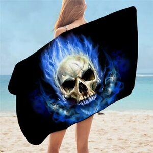 3D Blue Flame Gothic Skull Fire Travel Holiday Beach Bath Summer Towel