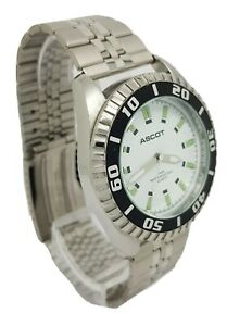 Mens ASCOT Design Quartz Stainless Steel Bracelet Watch With A Rotating Bezel A1