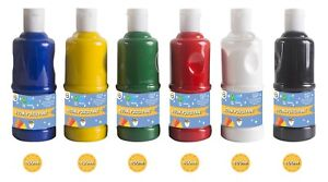 6 X 400ml Paint OR paint brushes Children's Craft Poster Paint Ready Mixed Art
