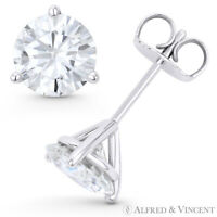 Round Cut Forever Classic Moissanite 3P Pushback Stud Earrings in 14k White Gold