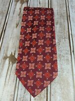 HUGO BOSS Men's Wine/Burgundy Medallion Design 100% Silk Made in ITALY Neck Tie