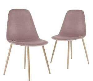 Velvet Fabric Dining Chairs Metal Legs Living Room Dinning Room Chair Set of 2/4