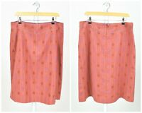 Womens Gudrun Sjoden Cotton & Wool Pink Skirt Embroidery Floral Size L