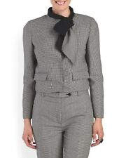 NWT VALENTINO Made In Italy Virgin Wool Houndstooth Bow Collar Blazer Size 6