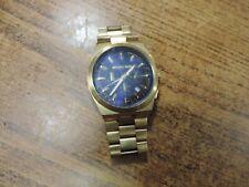 Gold Tone Men's Wrist Watch Michael Kors Mk833 Chronograph Blue Dial