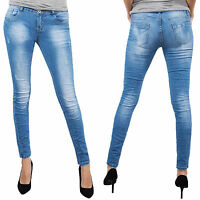 Pantalon Jeans pour Femmes Used-Style Skinny Bleu Denim Plis Look D-151