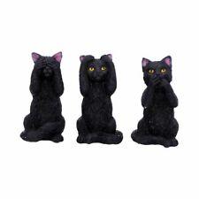 More details for three wise felines black cat figurine/ornament  - see no evil speak no evil cats