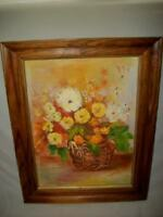 Mid Century Floral Oil Painting Flowers in Basket Earth Tone Chic Shabby Prairie