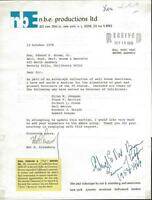 Governor Edmund G. Pat Brown Signed Response to Fan Letter 1978