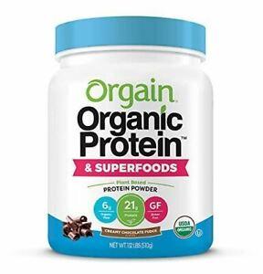 Orgain Organic Protein Powder, Creamy Chocolate Fudge - Vegan, Plant Based, 6g o
