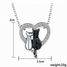 and White Cat Couple Nec Hme Animals Necklace Heart Insert Love Black