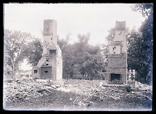 2ND GLASS NEGATIVE, CHIMNEYS STANDING AFTER FIRE, UNKNOWN, LATE 1800s-EARLY1900s