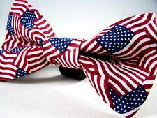NEW FABRIC DOG BOW TIE * American Flag 4th of July *Handmade USA*FREE SHIPPING B