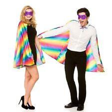 Super Hero Cape + Mask Set Adults Rainbow Multi Colour Fancy Dress