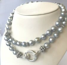 8.25 mm Baroque Akoya Pearl Strand Sterling Clasp Necklace 29 Inches Long
