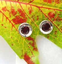 Granat rund rot schlicht elegant Design Ohrringe Ohrstecker 925 Sterling Silber