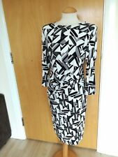 Ladies TU Dress Size 14 Black Grey Stretch Ruched Waist Wiggle Pencil