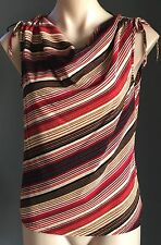 As New SUSSAN Bright Striped Cowl Neck Sleeveless Stretch Top Size M/12