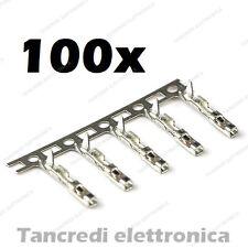 100x contatti femmina per connettore dupont metallici female contacts presa pin