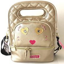 Betsey Johnson Oval Lunch Tote Top Handle Insulated Box Bag Heart Metallic Gold