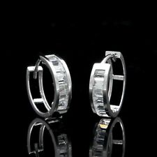 1.00Ct Baguette Created Diamond Huggie Earrings Solid 14K White Gold VVS1