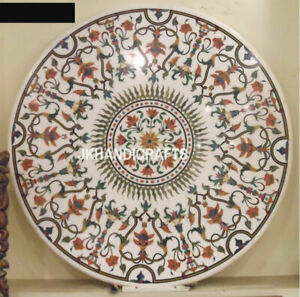 "30"" Marble Dining Table Gifts Top Coffee Rare Inlay Marquetry Mosaic Home Decor"