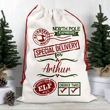 Large Personalised Any Name Christmas Santa Sack Gift Stock Bag Reindeer Mail