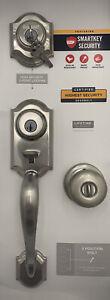 Kwikset SmartKey Montara Satin Nickel Single Cylinder Door Handle Set 95530-018