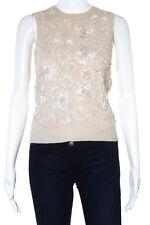 Michael Kors Beige Cashmere Silk Flower Knit Sleeveless Top Size Medium