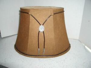 Western faux suede leather lamp shade lampshade with bolo accent oval