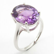 925 Stamped Pure Sterling Silver Genuine AMETHYST Ring SZ 7.5 Engagement Jewelry