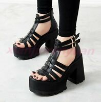 Chic Womens Open Toe Heels Platform Gladiator Chunky Sandals Strap Buckle Shoes