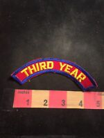 Vintage Yellow On Red w/ Blue Trim 3rd Year THIRD YEAR Tab Patch C91M