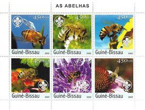 Block Guinee Bissau 2003 MNH, AS ABELHAS  6 x Honey Bee