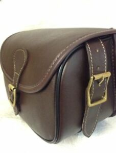 New Leather Cartridge Bag Beautiful Design With Hinged Lid+ Brass Buckles.  14
