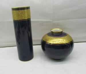 "2 Lindner Kueps Porzellan Vase  Zylinder & Kugel ""Echt Cobalt Ätzgold Handbemalt"