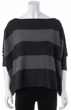 VINCE Gray Striped Cashmere Dolman Sleeve Boat Neck Sweater Size XS/S