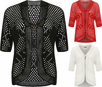 Ladies Womens Plus Size New Crochet Knitted Open Tied Cardign Short Sleeve Shrg