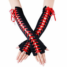 LONG LACE UP CORSET GLOVES Costume Gothic Steam Punk Emo Burlesque BLACK/RED