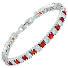 Schmuck Red Ruby Cubic Zirconia Square 18K White Gold Plated Tennis Bracelet