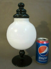 "Rare EMPOLI Murano Italian Art Glass BLACK WHITE Cased 11"" Apothecary Candy Jar"