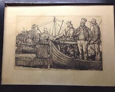 Fine Antique German Dutch Engraving Seaport Harbor Fisherman Fishing Boats